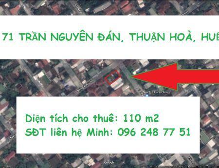 Cho thuê mặt bằng 2 mặt tiền Trần Nguyên Đán & Thạch Hãn TP Huế, chính chủ, không phí môi giới